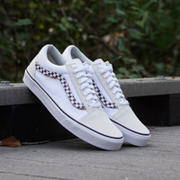 Vans Old Skool Side Stripe Velcro Checkerboard Marsmellow