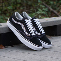 Vans Old Skool Side Stripe Velcro Checekerboard Black White