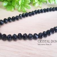 Crystal Beads Glass Kristal Donat 8mm Hitam 34 Jewelry