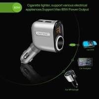 Car Charger Usb 3port 80w + Display Digital + Soket Lighter 12v