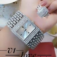 jam tangan wanita plus cincin lapis emas putih 24k 1138