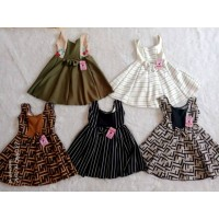 Uk 0-1 thn Dress anak Dress bayi motif Fila Fendy mix motif Bunga Baju
