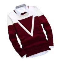 Triangle Maroon Sweater Rajut Pria