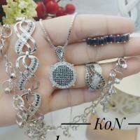 xuping set perhiasan kalung gelang cincin lapis emas putih 24k 1222