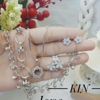 xuping set perhiasan kalung gelang cincin lapis emas putih 24k 1218
