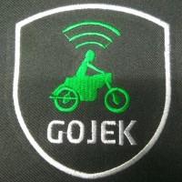 Logo Gojek dan Grab bordir