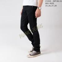 Celana Jeans Skinny Big Size / Ukuran Jumbo Pria Model Pensil Hitam 1
