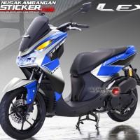 Decal Sticker Yamaha Lexi Putih Biru Grafis Hitam