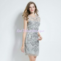 Grey Sequin Beads Embroidery Rhinestone Gauze Party Dress IMPORT