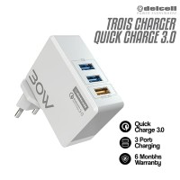 Delcell TROIS Smart Adaptor 3 Port Qualcomm QC QuickCharge 3.0A