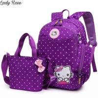 Tas Ransel Anak Sekolah SD TK Paud Hello Kitty Tas Beranak 3in1 - Biru