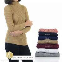 Baju Rajut Wanita Sweater Daisy Salur Turtleneck Blouse Rajut Cewek