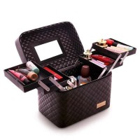 Box Kosmetik - Tempat Kotak Make Up - Makeup Box 2TK - Beauty Case - F Silver