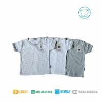 PROMO 1 Set Baju pendek Oblong Abu 3 pcs size L / baby FLUFFY / SNI
