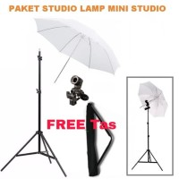 Paket Studio Light Stand With Bag + Lamp Holder + Payung Putih