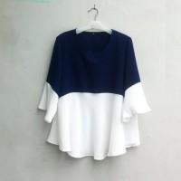[APR 17] Blouse Wanita Big Size 2L, 3L & 4L Warna Biru Dongker & Putih