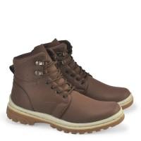 sepatu boots pria kulit coklat casual outdoor boot gunung cowok C6 ori