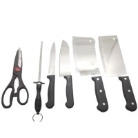 7 piece stainless steel knife set with wooden stand