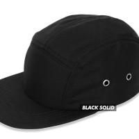 (TOPI POLOS) BASIC HAT 5 PANEL BLACK SOLID PREMIUM - Hitam