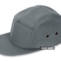 (TOPI POLOS) BASIC HAT 5 PANEL LIGHT GREY PREMIUM - Perak