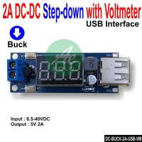 DC Stepdown with Voltmeter 6.5-40V to USB 5V 2A Charger Buck Module