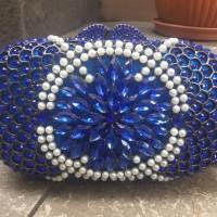 Tas Pesta D513 Blue Crystal Clutch