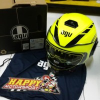 Helm Half face merk AGV Fluid Equalizer yellow fluo/black (SNI) size L