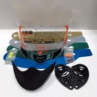 paket lengkap flat visor + rachet + spoiler + tear off pnp kyt r10