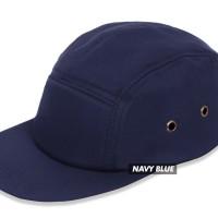 (TOPI POLOS) BASIC HAT 5 PANEL NAVY BLUE PREMIUM - Navy