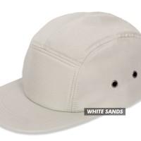 (TOPI POLOS) BASIC HAT 5 PANEL WHITE SAND PREMIUM