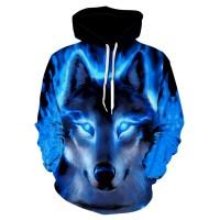 Serigala Cetak Hoodie Pria 3D Hoodie Merek Sweatshirt Anak Laki-laki