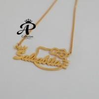 Kalung Nama Anak motif Hello Kitty lapis emas 24k Awet