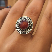 Almina london silver collection Ring Silk Road Amber