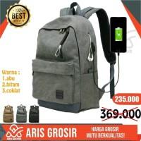 Tas Ransel Backpack Pria Kanvas Import With Usb Port Premium Termurah