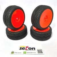 Ban dan Velg RC car 1/10 on road (orange) bisa upgrade wltoys Car 1/18