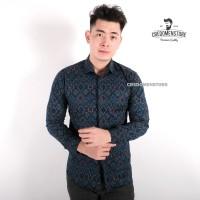 Kemeja Batik Songket Navy Lengan Panjang / Baju Batik Cowo Formal