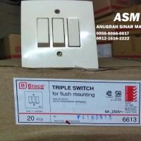 BROCO SAKLAR TRIPLE IB / SAKLAR 3 TOMBOL INBOW - 6613 (CREAM)
