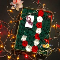 Hadiah Kado Natal Unik Romantis Bucket Buket Bunga FLanel Box Wanita A