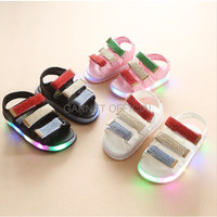 Sepatu Bayi Import LOGU Sepatu LED garis garis Sepatu sandal LED warn