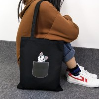 TC38 Pocket Cat Canvas Tote Bag / Tas Wanita / Tas Kucing Kantong