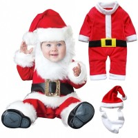3 PCS Cute Baby Kids Christmas Santa Claus Cosplay Costume Newborn