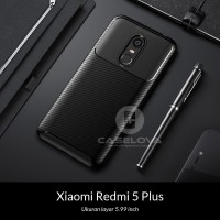 Case Xiaomi Redmi 5 Plus Synthetic fiber Silicone Protective Carbon