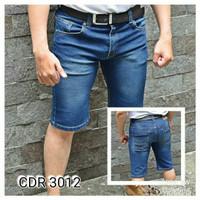 Celana Pendek pria jeans stretch melar body fit warna biru