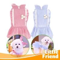 Baju/Kostum Dress Princess Anjing Kucing Rok Stripe Set Bando Hairband