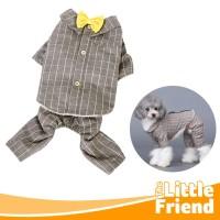 Baju/Kostum Anjing Kucing Set Atas Bawah Model Kotak-Kotak Wol Keren