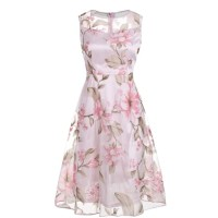 Pink Floral Dress Sleeveless O-neck 2018 Summer Casual Women