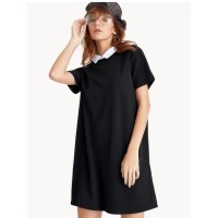 Mini Contrast Collar Tee Dress