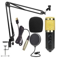 High Quality Condenser Microphone Built-in Sound Card BM-900 + Stand