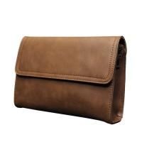 Clutch Handbag Tas Pria KULIT Brown Cokelat HTI0118