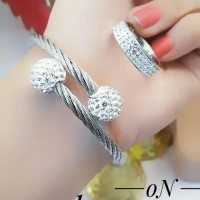 titanium gelang cincin lapis emas putih 24k 1949